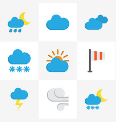 Weather flat icons set collection of snow cloud vector