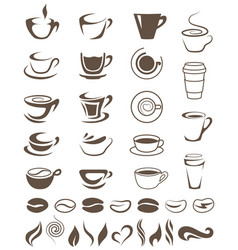 coffee cups beans and steam shapes template for vector image