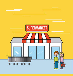 supermarket building couple customers cart vector image