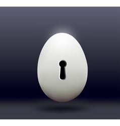 Chicken egg with a door bore a dark background vector