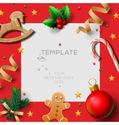 Merry Christmas festive template with gingerbread vector image