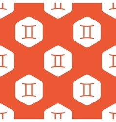 Orange hexagon gemini pattern vector