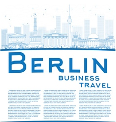 Outline berlin skyline with blue building vector