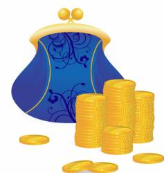 Coins and purse vector