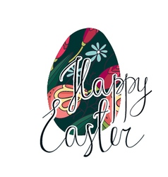 Happy Easter greeting card with flowers vector image
