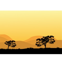 Silhouettes of trees at the noon vector