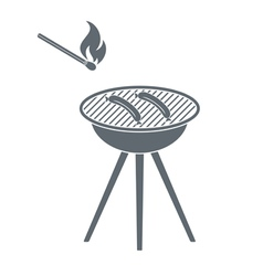 Barbecue sausage and matches icon vector