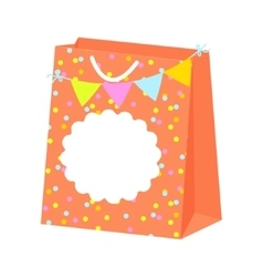 Paper festive gift bag with tag label vector