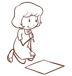 A simple drawing of a girl writing vector image
