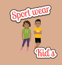 African children in sport wear style vector
