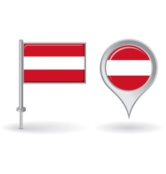 Austrian pin icon and map pointer flag vector