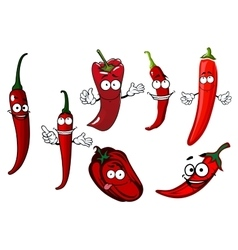 Cartoon red chilli and bell peppers vegetables vector image