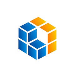 cube square 3D business logo vector image vector image