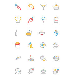 Food colored outline icons 2 vector