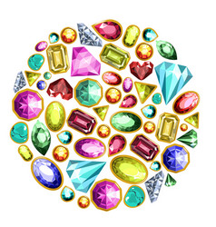 gems and diamonds isolated icons set vector image vector image