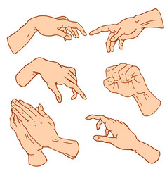 gestures arms stop palm thumbs up finger vector image