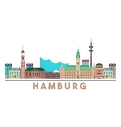 Hamburg Landmarks Skyline vector image vector image