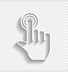 Hand click on button white icon with soft vector