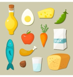 Healthy food icons set vector image vector image