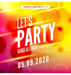 Lets party design poster night club template music vector