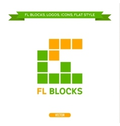 Logo letter FL in the form of blocks and cubes vector image vector image