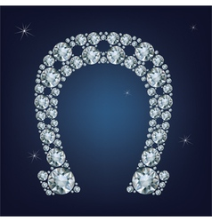 Lucky horseshoe made a lot of diamonds vector image vector image