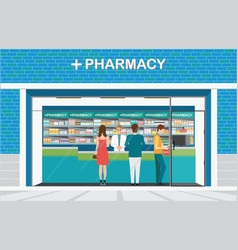 male pharmacist at the counter in a pharmacy shop vector image vector image