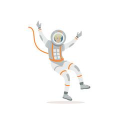 Man training before flight in cosmos cartoon vector