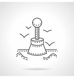 Marine buoy thin line icon vector image