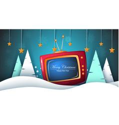 Merry christmas happy new year tv fir vector