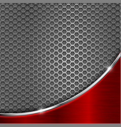 Metal perforated background with red wave steel vector