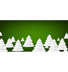 Paper christmas trees over green vector image