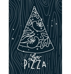 Poster love pizza slice blue vector