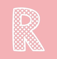 R alphabet letter with white polka dots on pink vector