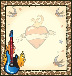 rock star tattoo party vector image