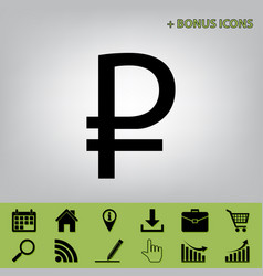 Ruble sign black icon at gray background vector