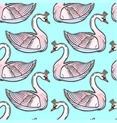 Seamless pin-up pattern with white swan princess vector