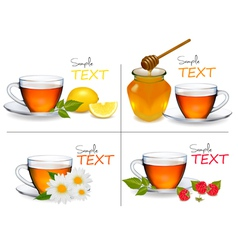 Set of backgrounds with cups of tea vector