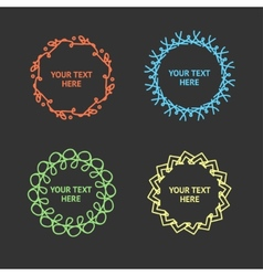 set of hypster outline emblems and frame vector image