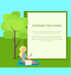Spending time in park conceptual banner with woman vector
