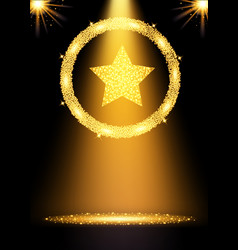 spotlight gold background vector image vector image