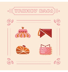 Stylish woman bags and clutches vector image