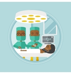 Two surgeons making operation vector image