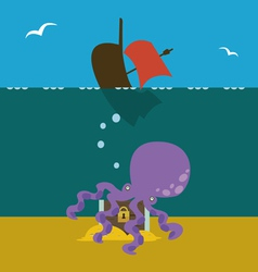 Underwater treasures keeper vector
