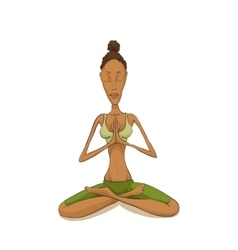 Woman yoga meditating vector