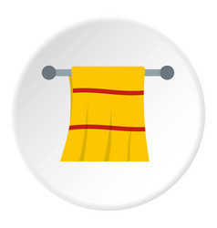 Yellow towel hanging on hanger icon circle vector