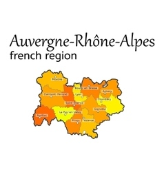 Auvergne-rhone-alpes french region map vector