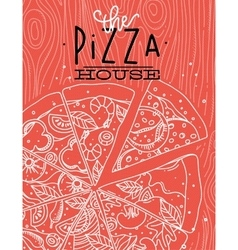 Poster pizza wood coral vector