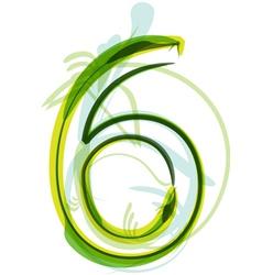 Green number 6 vector