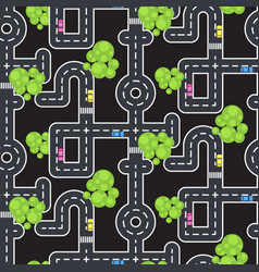 Top view roads and streets seamless pattern vector